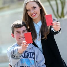 29/4/14***NO REPRO FEE***Pictured at the Show Racism the red card creative competition awards at the Aviva stadium today were Abel Tcaci from the winning school Castaheany Educate together school in Lucan and TV Presenter Diana Bunici Pic: Marc O'Sullivan